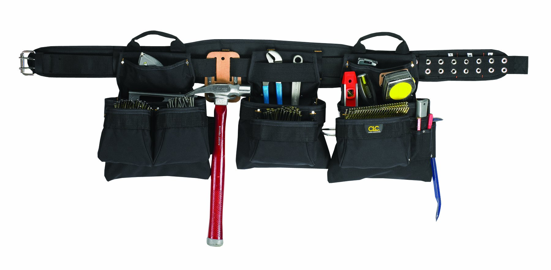 CLC Custom Leathercraft 5605XL Professional Carpenter's Combo, black, 18-Pocket 5 Piece, Extra Large
