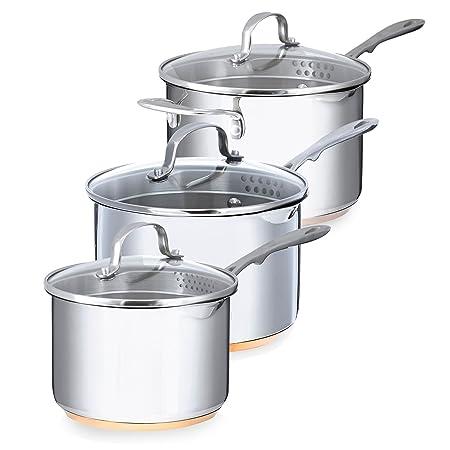 Debenhams Set Of Three Stainless Steel 16, 18, 20Cm Saucepan With ...