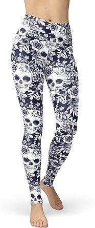 sissycos Womens Ultra Buttery Soft Sugar Skull Printed Leggings Elastic High Waist Tights