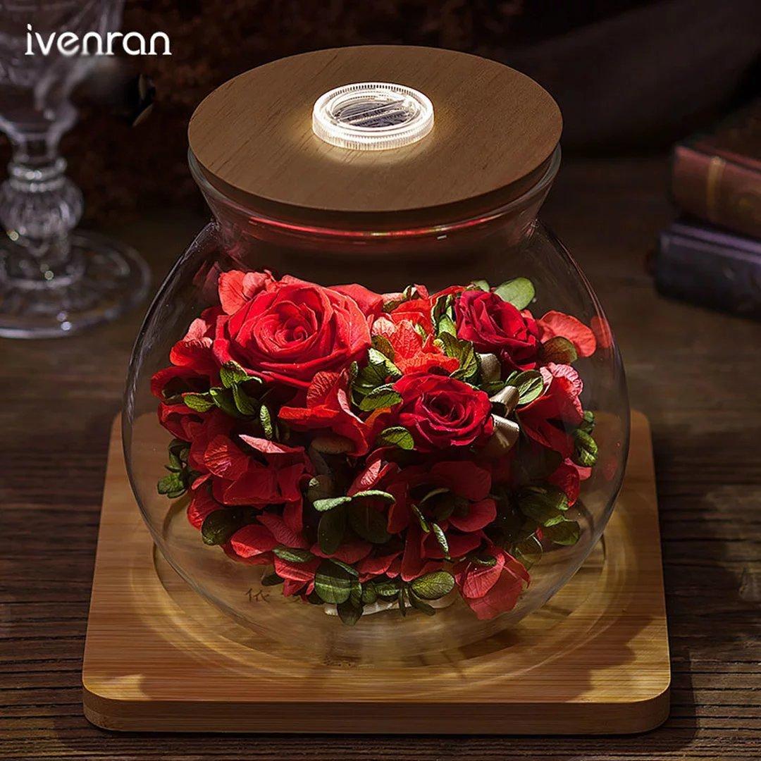 YKFN 夜光 LED ローズ バラ プリザーブドフラワー 枯れない花 ガラスドーム アレンジ 花 お誕生日 お祝い 結婚祝い ギフト 開店 お返し 贈り物 カード付き B06X97ZLPJ タイプ3 タイプ3