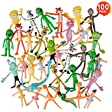 ArtCreativity Mega Set of Bendable Toys Assortment - 100 Pieces – 3 and 4 Inch Bendy Animals - Includes Aliens, Tigers…