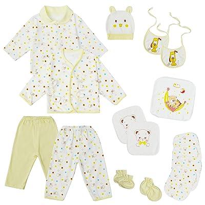 18 Piece Newborn Unisex Boy Girl Clothes Sets   0-6 Months Infant Outfits   Baby Essentials Accessories