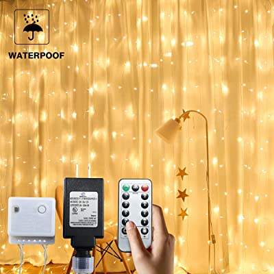 PUHONG 9.8 X 9.8ft 300 LED Window Curtain String Light with Remote Control for Christmas Wedding Party Home Garden Bedroom Outdoor Indoor Wall Decorations (Warm White) : Garden & Outdoor
