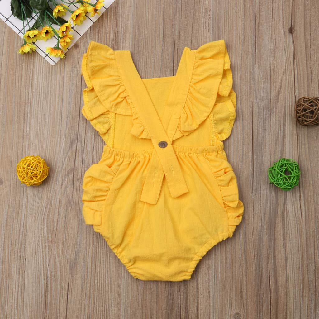 NUWFOR Summer Newborn Baby Boys Girls Ruffle Solid Romper Bodysuit Jumpsuit Clothes(Yellow,12-18Months) by NUWFOR (Image #3)