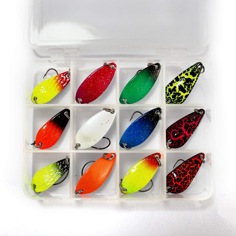 FitTrek Cucharillas de Pesca Kit - 12 PCS Cucharillas de Trucha ...