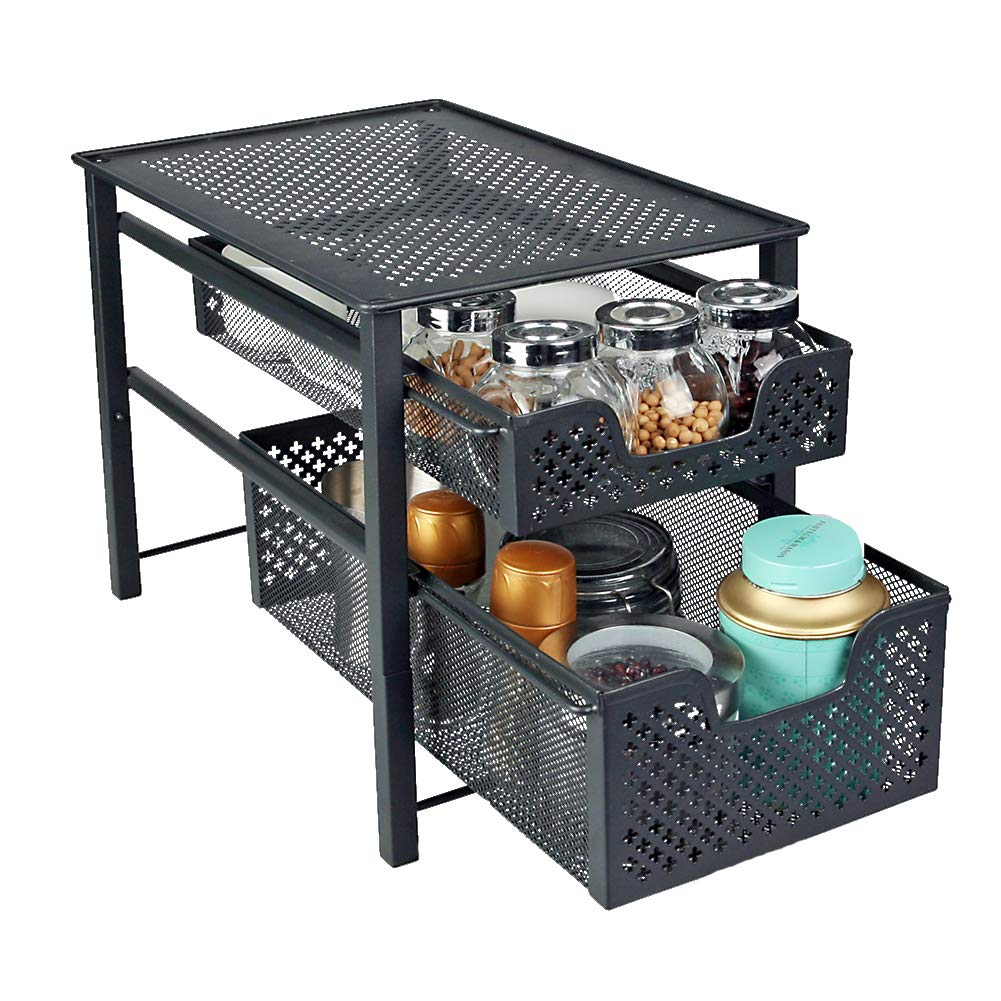 MustQ Stackable 2 Tier Organizer Baskets with Mesh Sliding Drawers, Ideal Cabinet, Countertop, Pantry, Under The Sink, and Desktop Organizer for Bathroom,Kitchen, Office. by MustQ