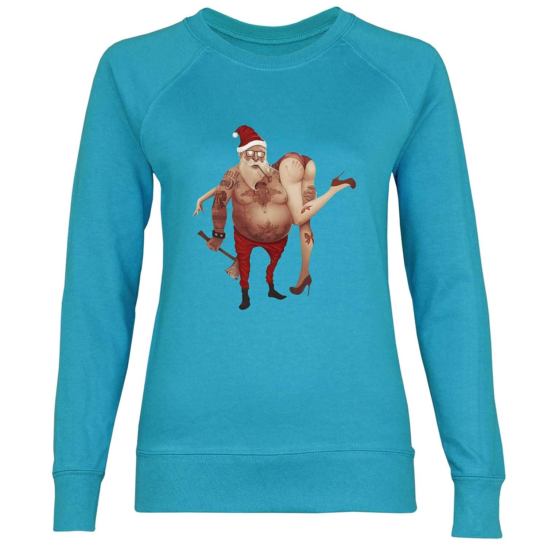 wowshirt Sudadera Ugly Christmas Santa Claus Tatuaje para Mujer ...