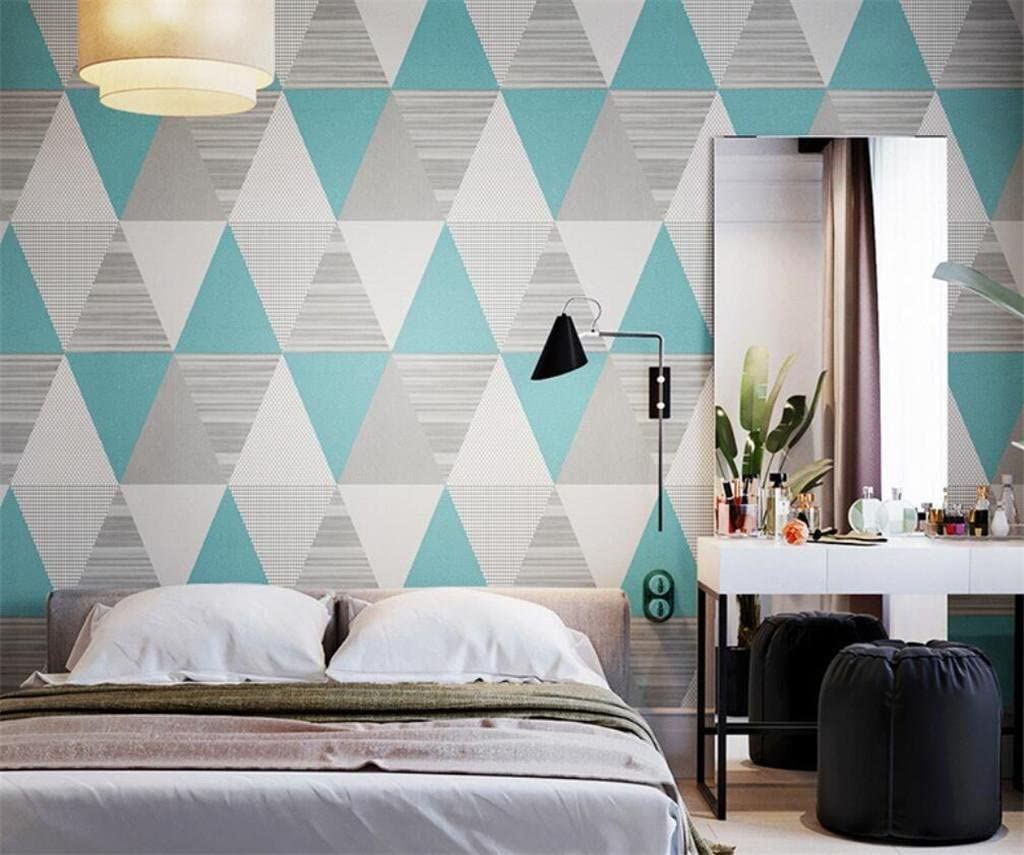 Triangular Geometric Pattern Wallpaper Modern Simplicity Bedroom Living Room Tv Background Wall Paper Nordic Grey 0 53 10m Blue Weiqi Amazon Co Uk Kitchen Home