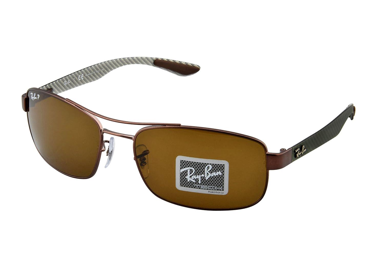 c44754f0f3 Amazon.com  Ray-Ban METAL UNISEX SUNGLASS - MATTE BROWN Frame POLAR BROWN  Lenses 62mm Polarized  Clothing