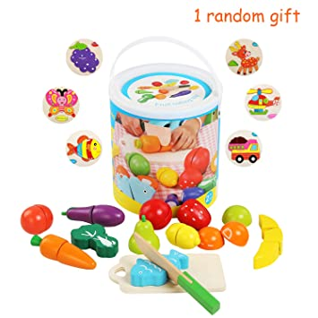 Super Bellestyle Play Food Toys Wooden Play Food Toys Children Fruit Cut Toy Kitchen Play Food Vegetable Cutting Set Of 13Pcs With Storage Bucket Wooden Home Interior And Landscaping Ymoonbapapsignezvosmurscom