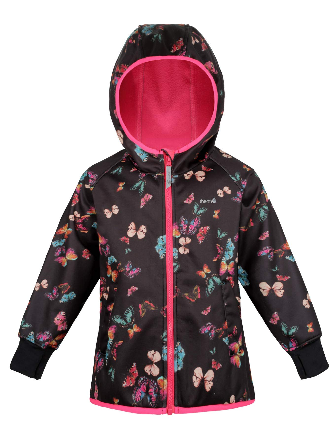 Therm Girls Rain Jacket, Lightweight Winter Raincoat - Eco Friendly Fabric, Fleece Lined - Toddler Kids Youth Clothes (10, Butterfly Print) by Therm