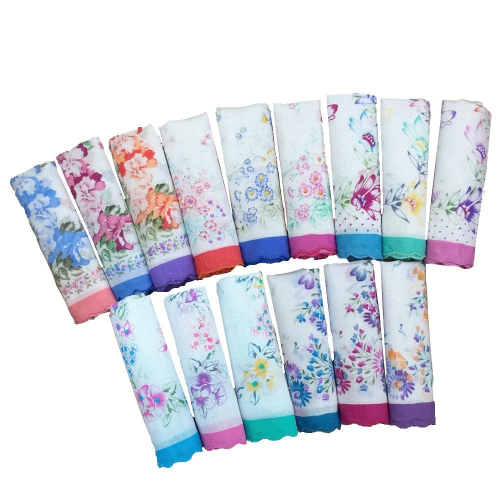 Cotton Ladies' Vintage Floral Handkerchiefs for Wedding Party (Set of 12 pieces)