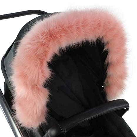 For-Your-Little-One Fur Hood Trim Pram Compatible on Baby Jogger Pink