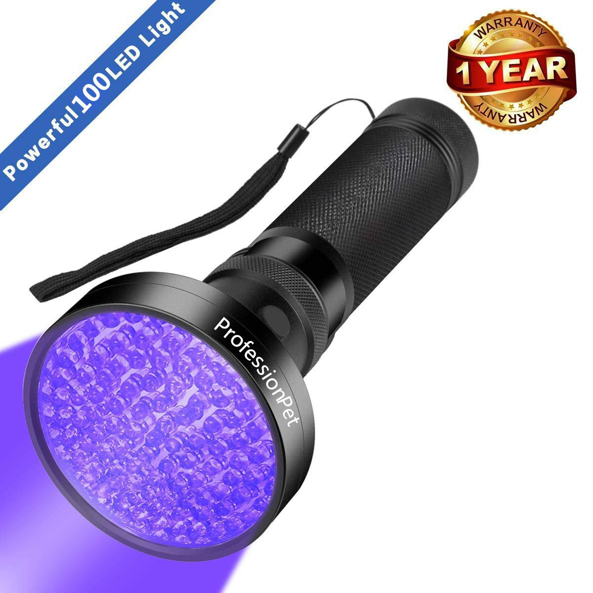 UV Black Light Flashlight, Super Bright 100 LED #1 Best Pet Dog Cat Urine Detector light Flashlight for Pet Pee Urine Stains, UV Blacklight Flashlight for Bed Bug Scorpions, Home Hotel (Black)