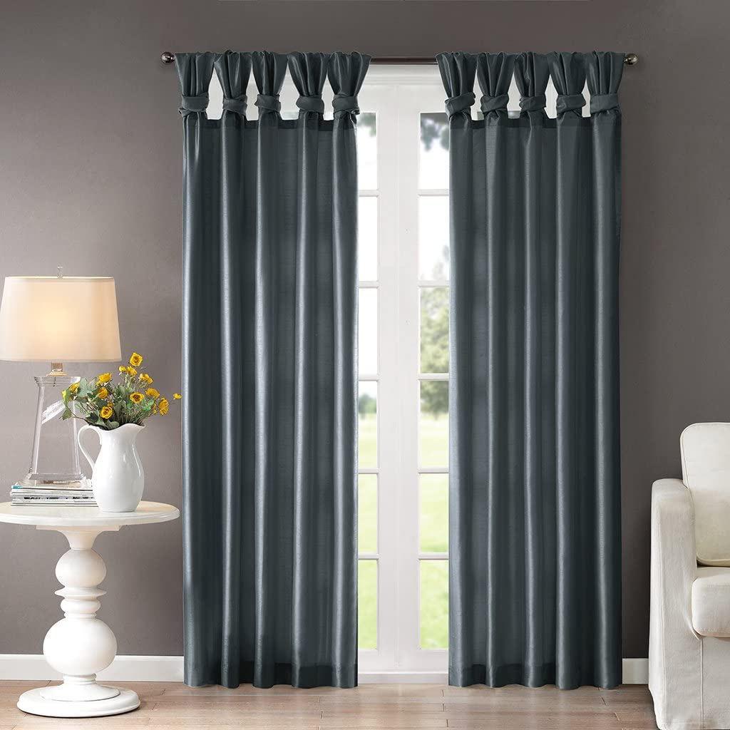 Madison Park Emilia Room-Darkening Curtain DIY Twist Tab Window Panel Black Out Drapes for Bedroom and Dorm, 50x84, Teal