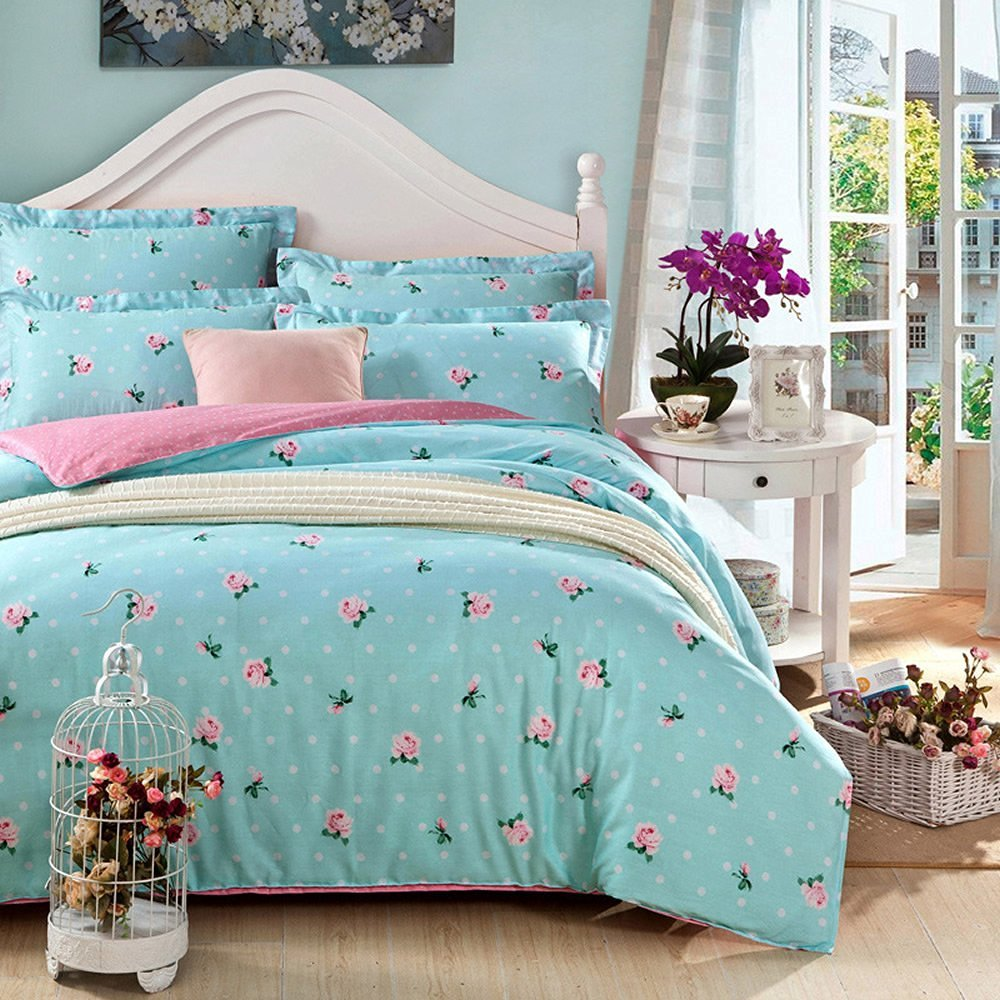 100% Pure Cotton 4-Piece Bedding Set, Printed Pink Roses Pattern Design (Full, Blue Floral)