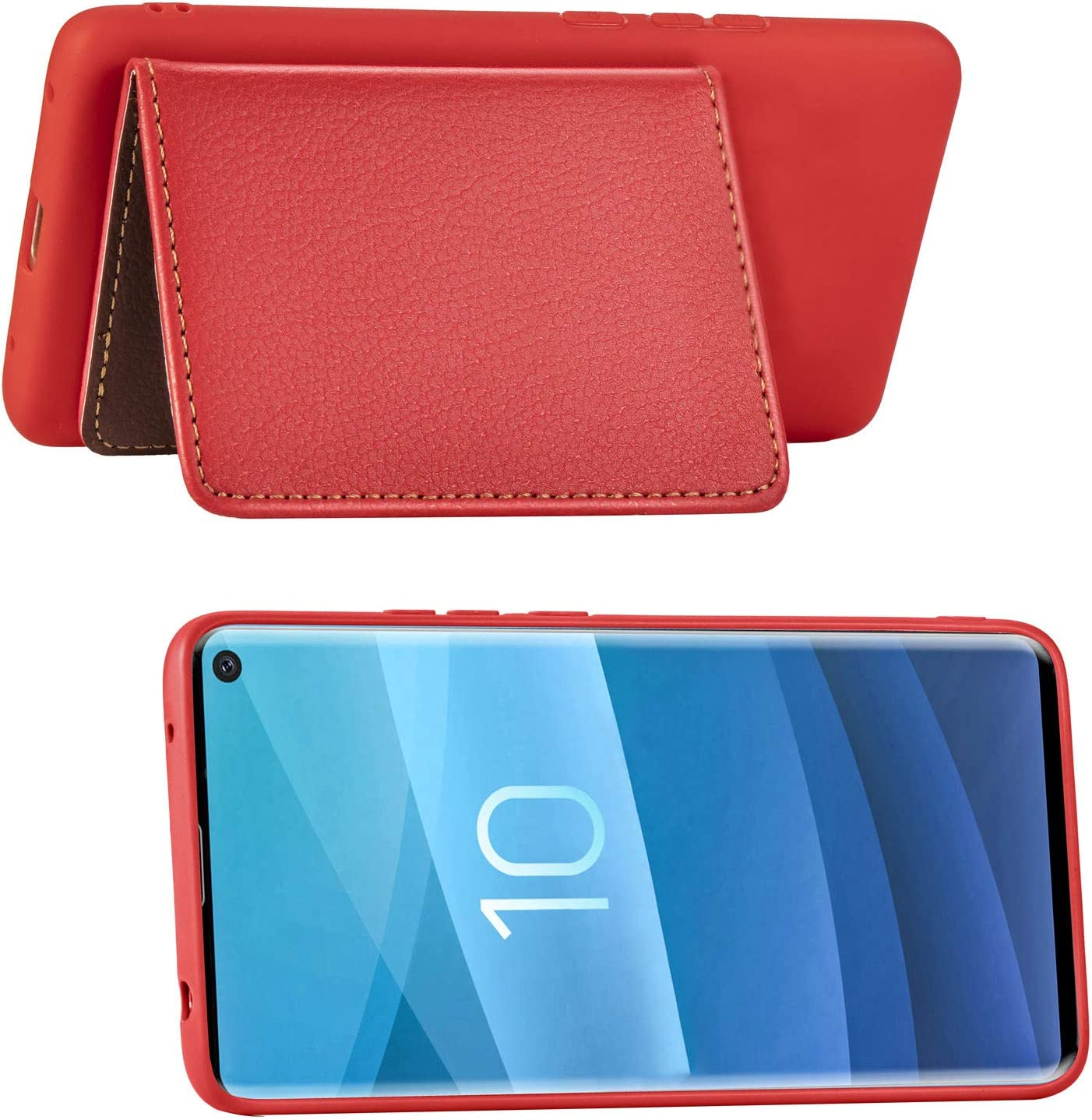 IKASEFU Compatible with Samsung Galaxy S10 Silicone Case Pu Leather Leaf style Wallet Strap Case Card Slots Shockproof Magnetic Flip Stand Function Protective Soft Bumper Cover Case,red