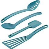 Rachael Ray Cucina Nylon Nonstick Utensils/Fish Turner, Spatula, Solid and Slotted Spoons, 4 Piece, Agave Blue