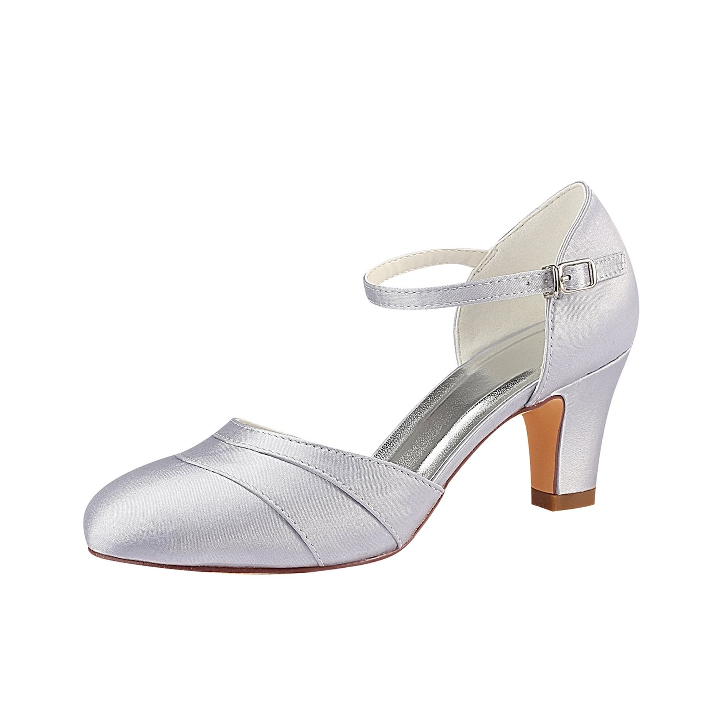 Emily Bridal Zapatos Nupciales Las Mujeres de Seda como Satén Tacón de Aguja Cerrado Toe Bombas 36.5 EU|Plata