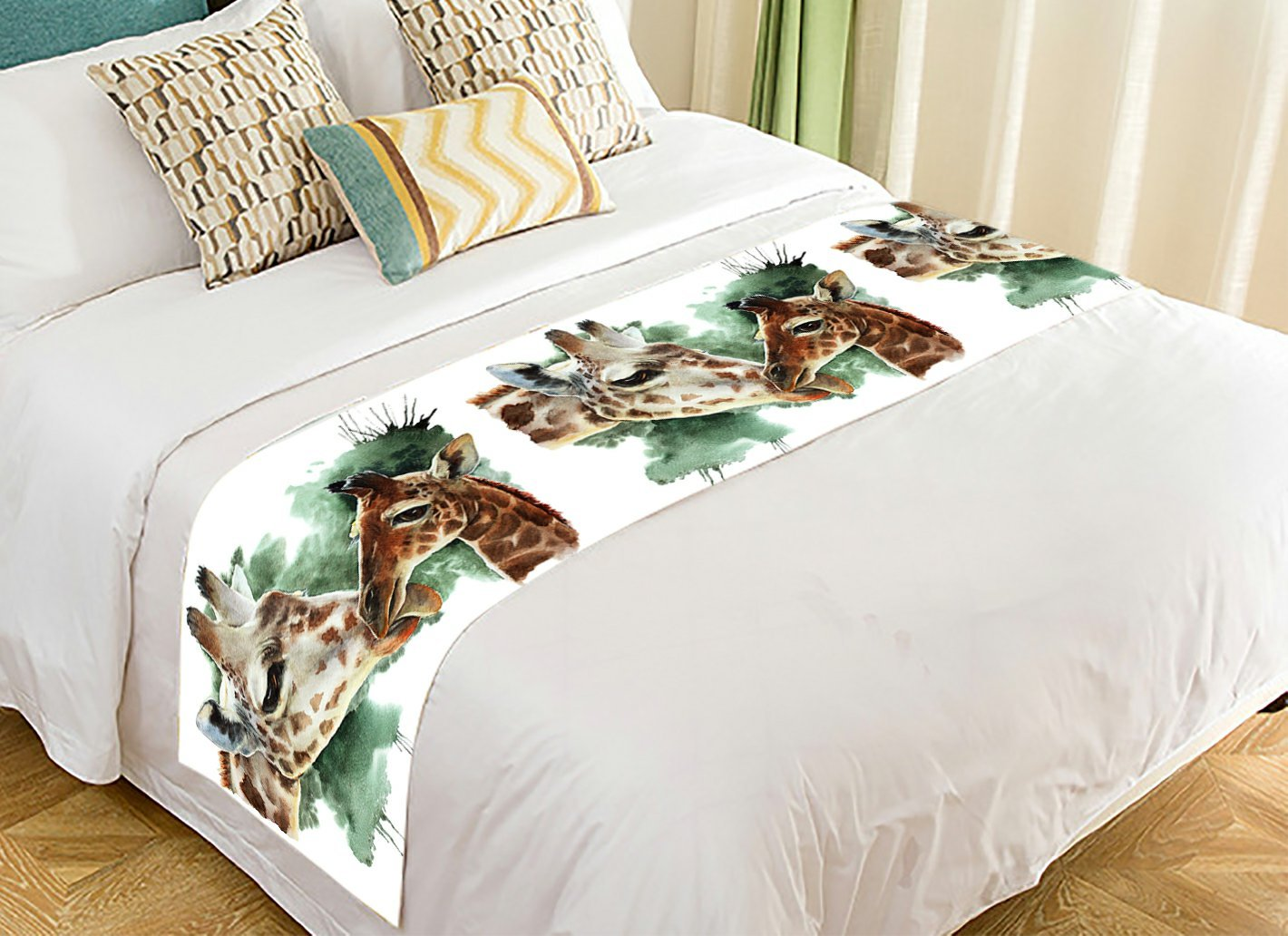 Custom Animal Bed Runner, Watercolor Couple of Giraffe Bed Runners And Scarves Bed Decoration 20x95 inch