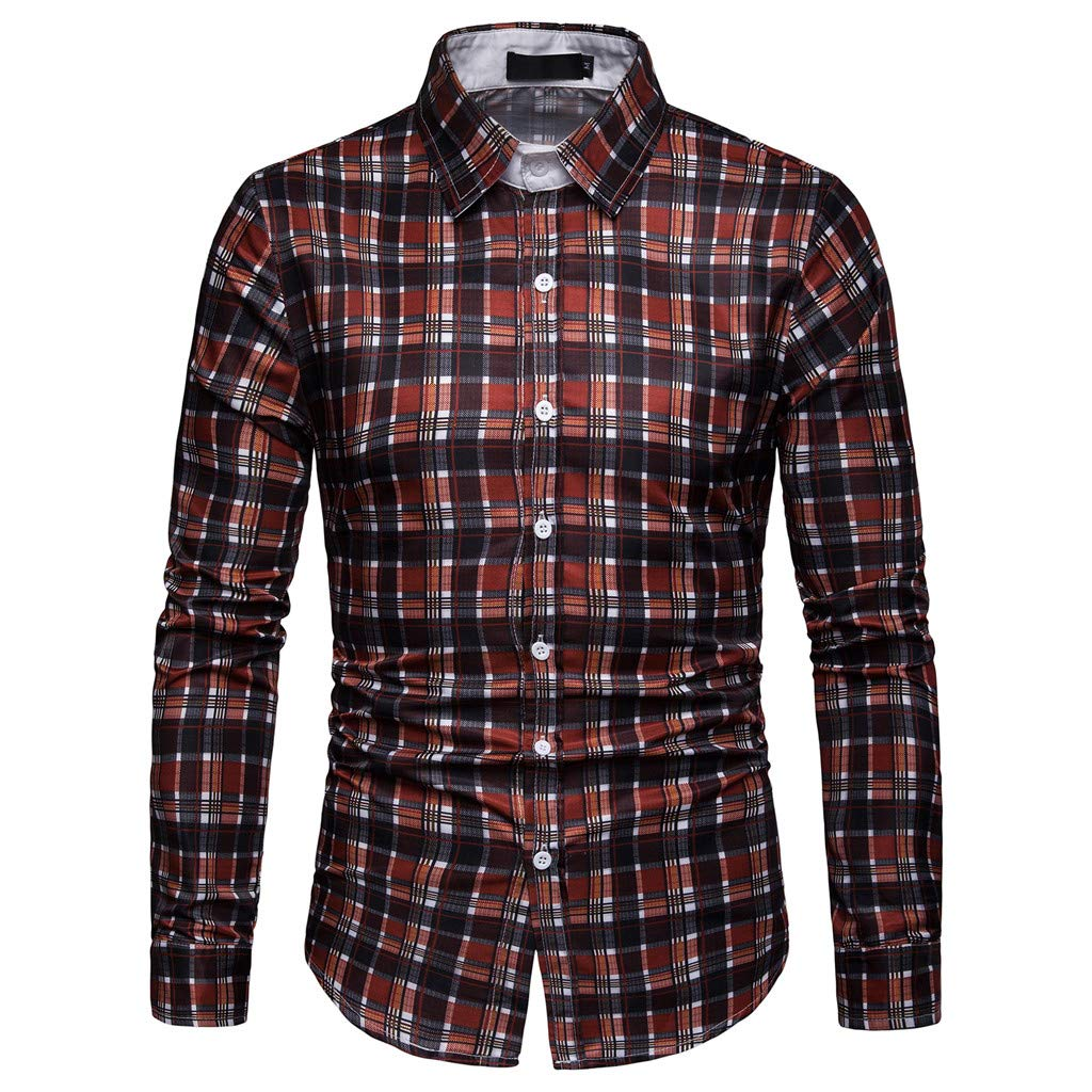 NUWFOR Men's Long Sleeve Lattice Plaid Painting Large Size Casual Top Blouse Shirts(Red,L US/2XL AS Bust:41.7''