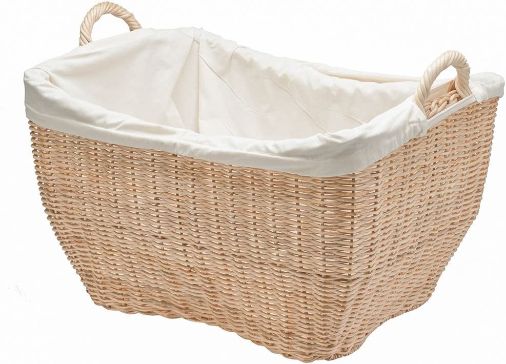 "KOUBOO 1060053 Wicker Laundry Basket with Liner, 21.5"" x 16"" x 15.5"", Natural Color"