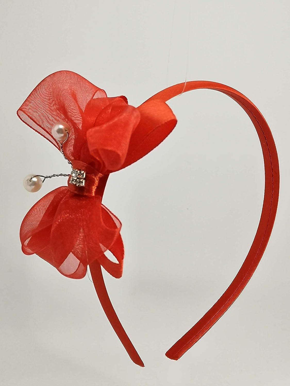 Cerchietto per capelli bambina rosso con farfalla-Fatto a mano