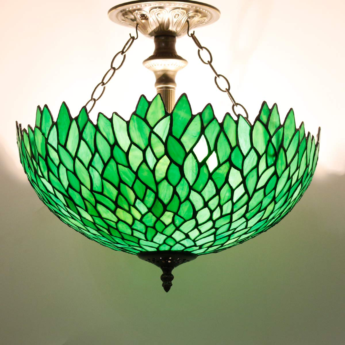 Tiffany Ceiling Fixture Lamp Semi Flush Mount 16 Inch Green Wisteria Stained Glass Shade for Dinner Room Pendant Hanging 2 Light