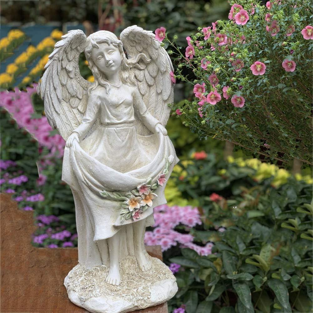 XMZDDZ Outdoor Angel Statues Decor for Garden,Wings of an Angel Resin Ornament Bird Feeder,Decorative Garden Statuary Angel for Garden Patio Or Lawn
