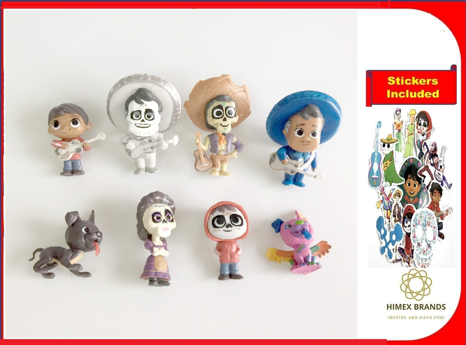 HIMEX BRANDS 8X Coco Cake Topper Figures Toy Set Miguel Hector Imelda Dante Ernesto free stickers included by HIMEX BRANDS