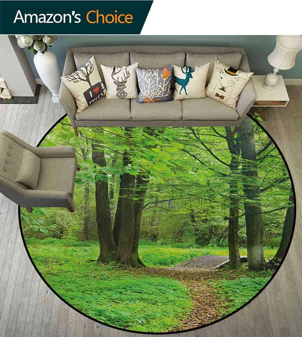 Nature Modern Machine Washable Round Bath Mat,Summer Season Forest with Flourishing Trees Grass and Pathway Tranquil Scenery Non-Slip Living Room Soft Floor Mat,Round-71 Inch
