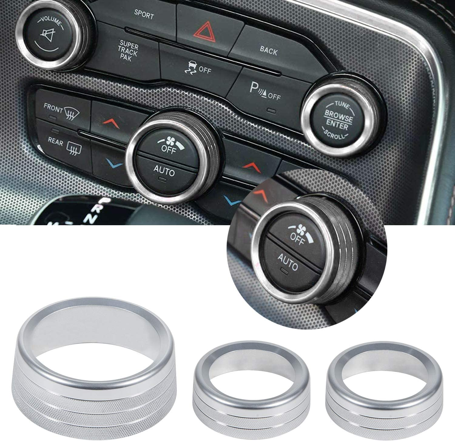 Silver 3pcs Audio Air Conditioner Switch CD Button Knob Cover Decoration Twist Switch Ring Trim fit for 2015-2020 Dodge Challenger Charger Durango,Chrysler 300 300s