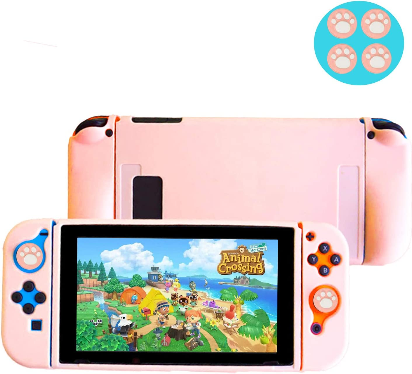 Falamiao Dockable Case for Nintendo Switch, Protective Case Cover with Soft Touch Grip Back Cover Case, NS Joy-Con Controller Housing, with Free 4 Grip Caps (Sakura Pink)