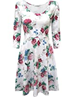 Tom's Ware Women Elegant Floral Print Long Sleeve Scoop Neck Flare Dress