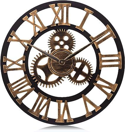 Lafocuse Reloj de Pared Grande Engranajes Retro Madera Reloj de Cuarzo Oro Industrial Creativo Silencioso Números Romanos para Salon Bar Restaurante ...