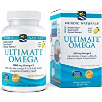 Lemon Flavor - 1280 mg Omega-3-60 Soft Gels - High-Potency Omega-3 Fish Oil Supplement with EPA & DHA - Promotes Brain…