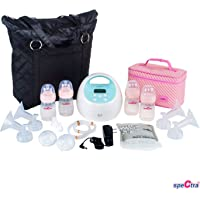 Spectra Baby USA - S1 Plus Premier Rechargeable Electric Breast Pump Bundle, Double/Single, Hospital Grade - with Black Tote and Pink Cooler