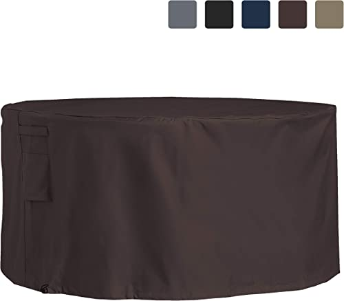 Outdoor Patio Round Table Chair Set Cover 12 Oz Waterproof – 100 UV Weather Resistant PVC Coated Round Table Cover with Air Pockets Drawstring for Snug Fit 109, Coffee