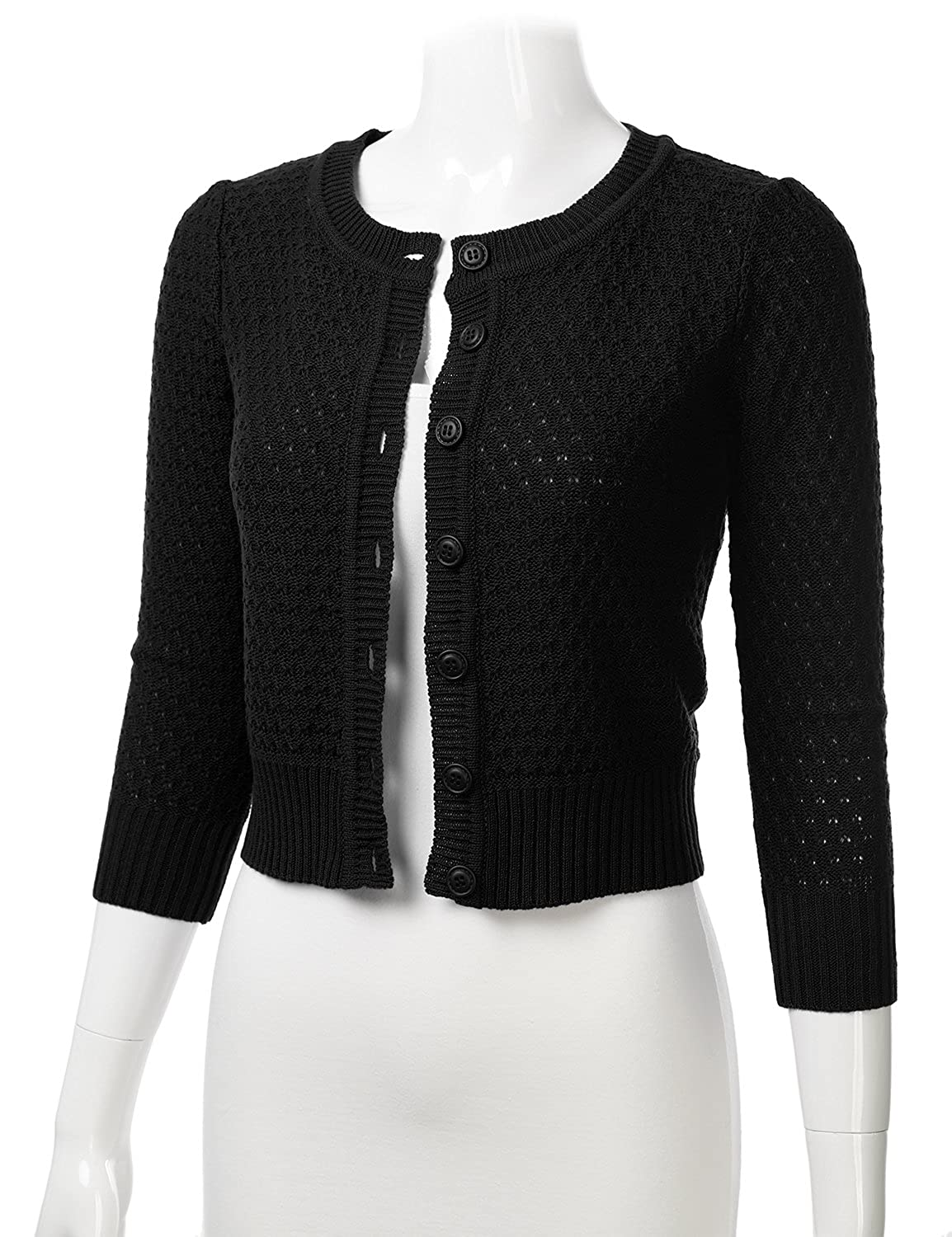 5a3905a5099 FLORIA Women s Button Down 3 4 Sleeve Crew Neck Cotton Knit Cropped  Cardigan Sweater (S-3X) at Amazon Women s Clothing store