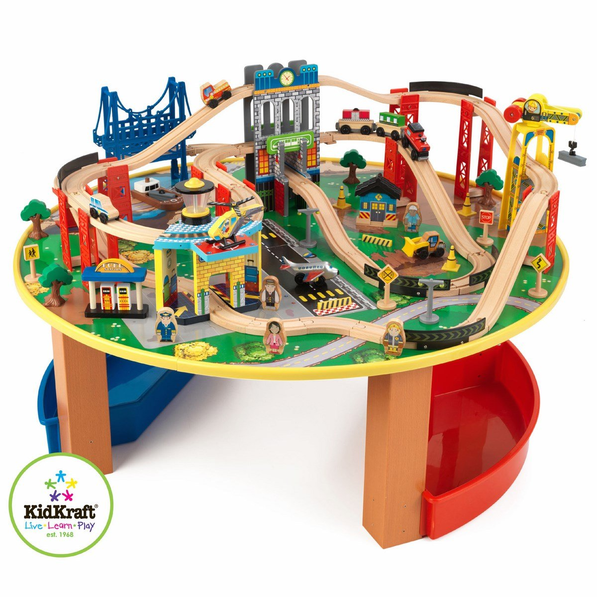 Charming KidKraft 17985 City Exploreru0027s Train Set And Table. Including 80 Pieces Of  Track And Cityscape Scener, From Skyscrapers To Towering Trestle Bridges,  ...