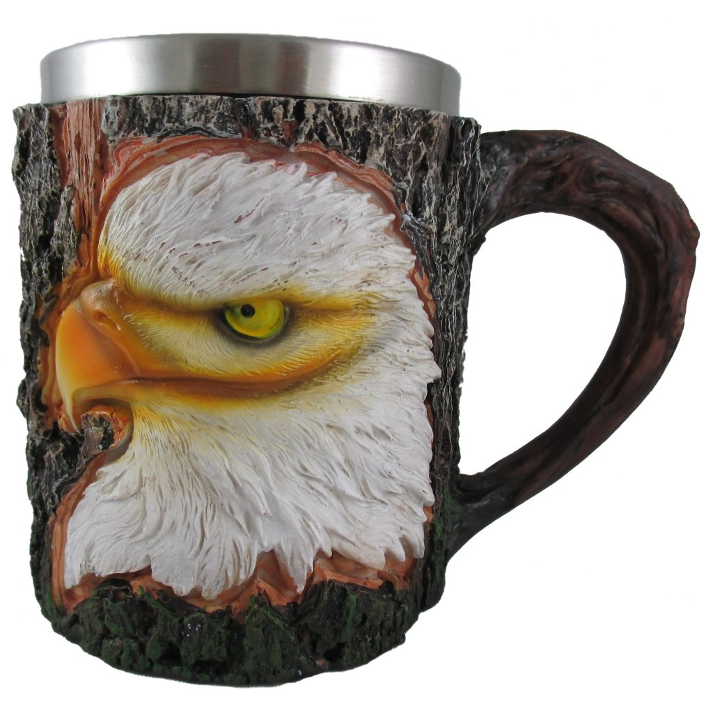 Bald Eagle Coffee Mug, 3D Novelty Animal Tea Cup, Large Portable Leak Proof Drinking Glass, Stainless Steel Liner