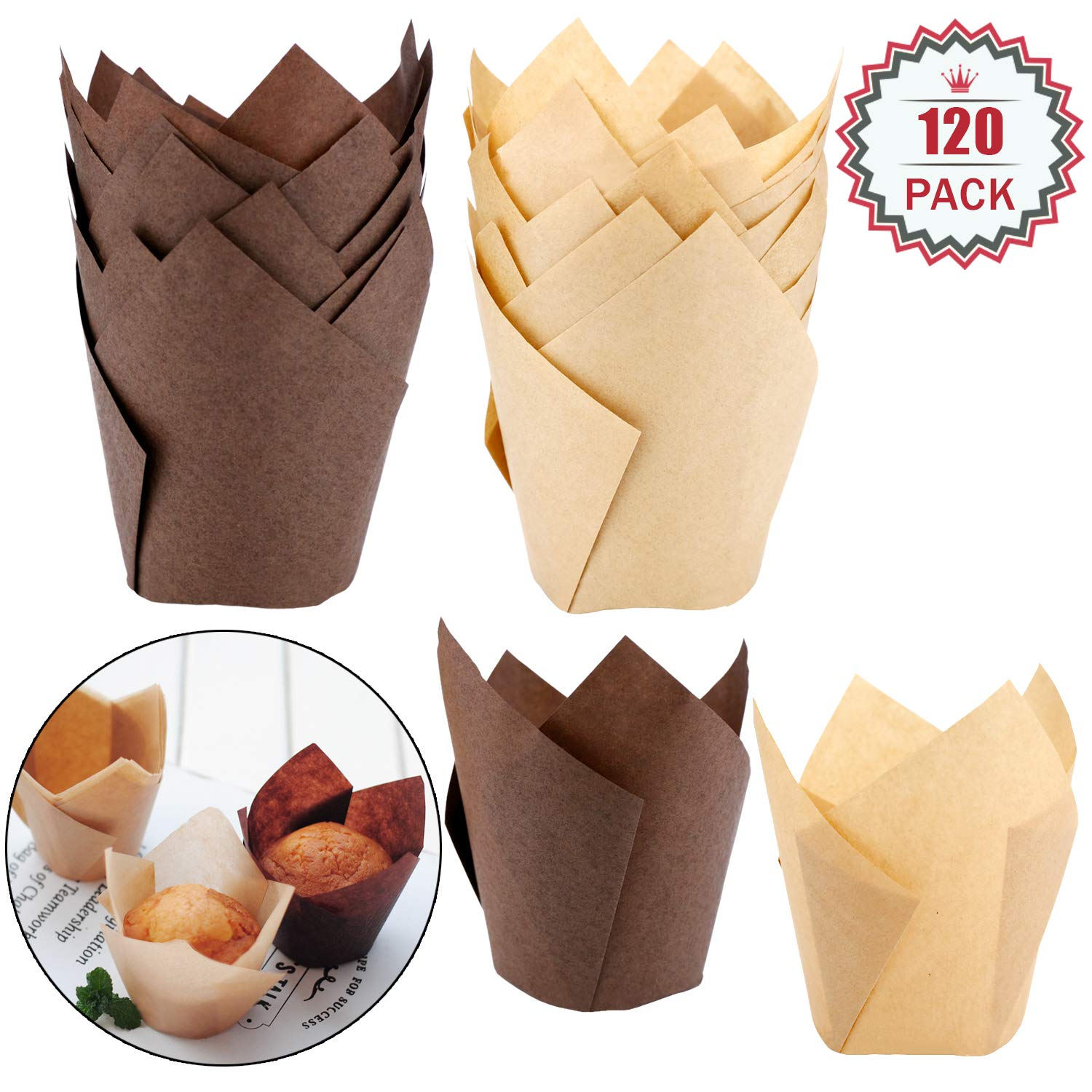 120 Pieces Tulip Cupcake Liner Baking Cups Muffin Tins Treat Cups for Weddings, Birthdays, Baby Showers,Brown and Natural by Augshy