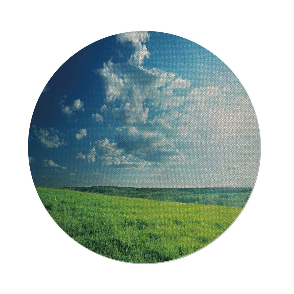 Cotton Linen Round Tablecloth,Nature,Refreshing Meadow Valley under Cloud Sun Sky Spring Grass Country Image,Lime Green Light Blue,Dining Room Kitchen Table Cloth Cover
