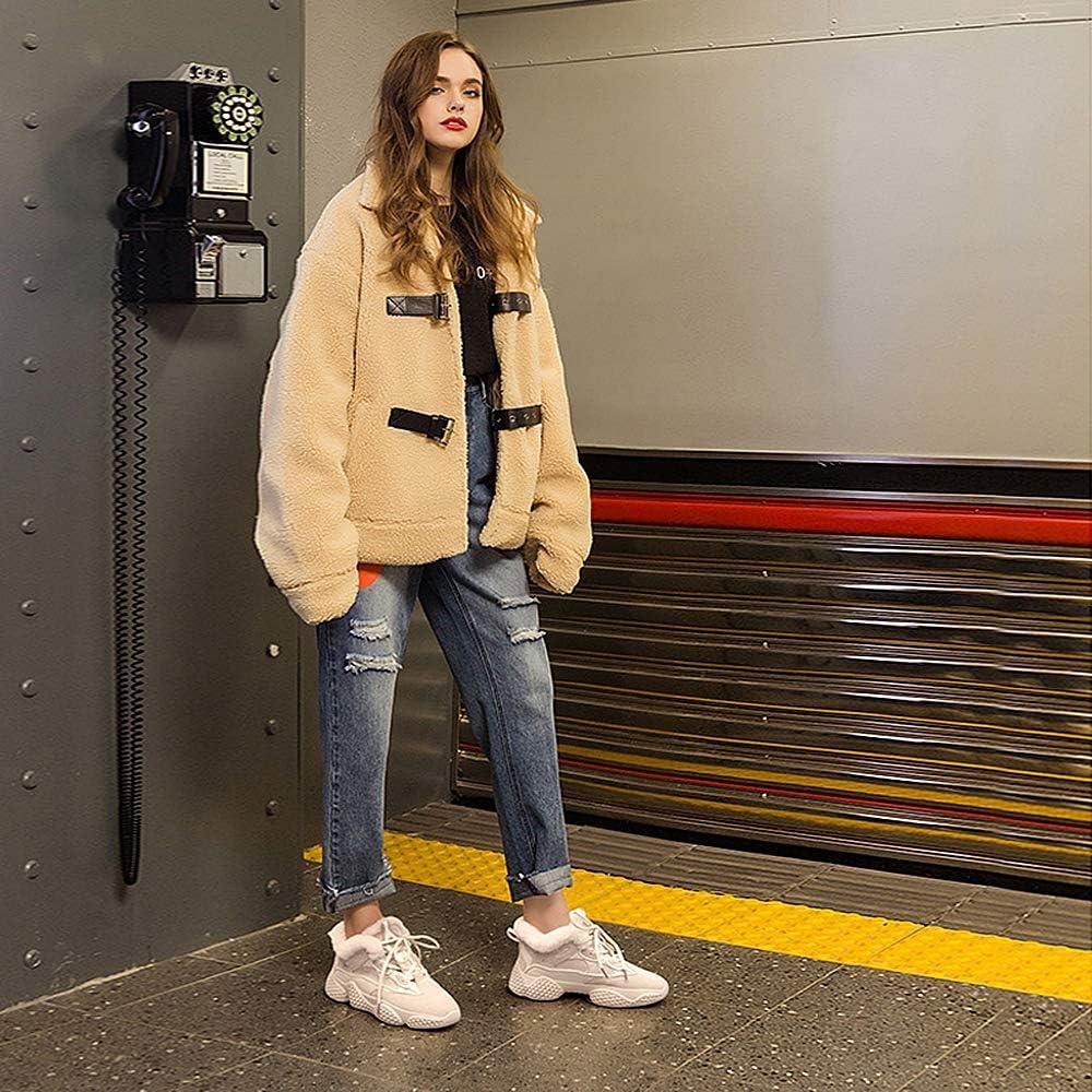 Aegilmcii Femmes Clunky Sneaker Dad Shoes Plus Velvet Winter La Nouvelle Épaisse Bottom Chaussures Femme Gray