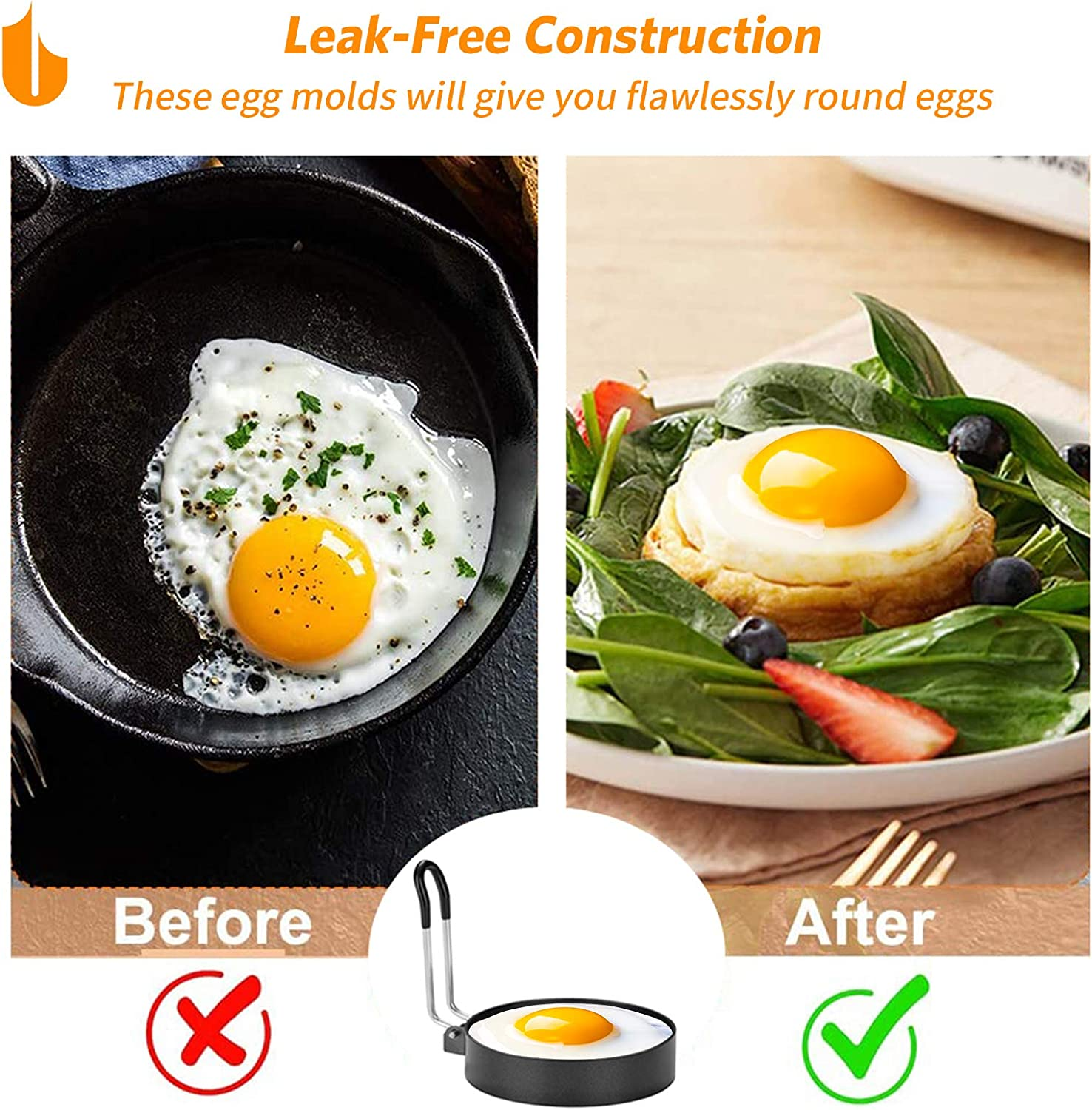 Urbanstrive 100/% Non Stick Eggs Rings 4 Pack Stainless Steel Egg Cooking Rings Pancake Mold for frying Eggs and Omelet Black