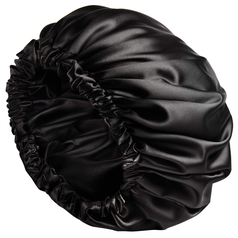 YANIBEST Satin Bonnet Sleep Bonnet Cap - Extra Large, Double Layer, Reversible, Adjustable Satin Cap for Sleeping Hair Bonnet (Large, Black) : Beauty