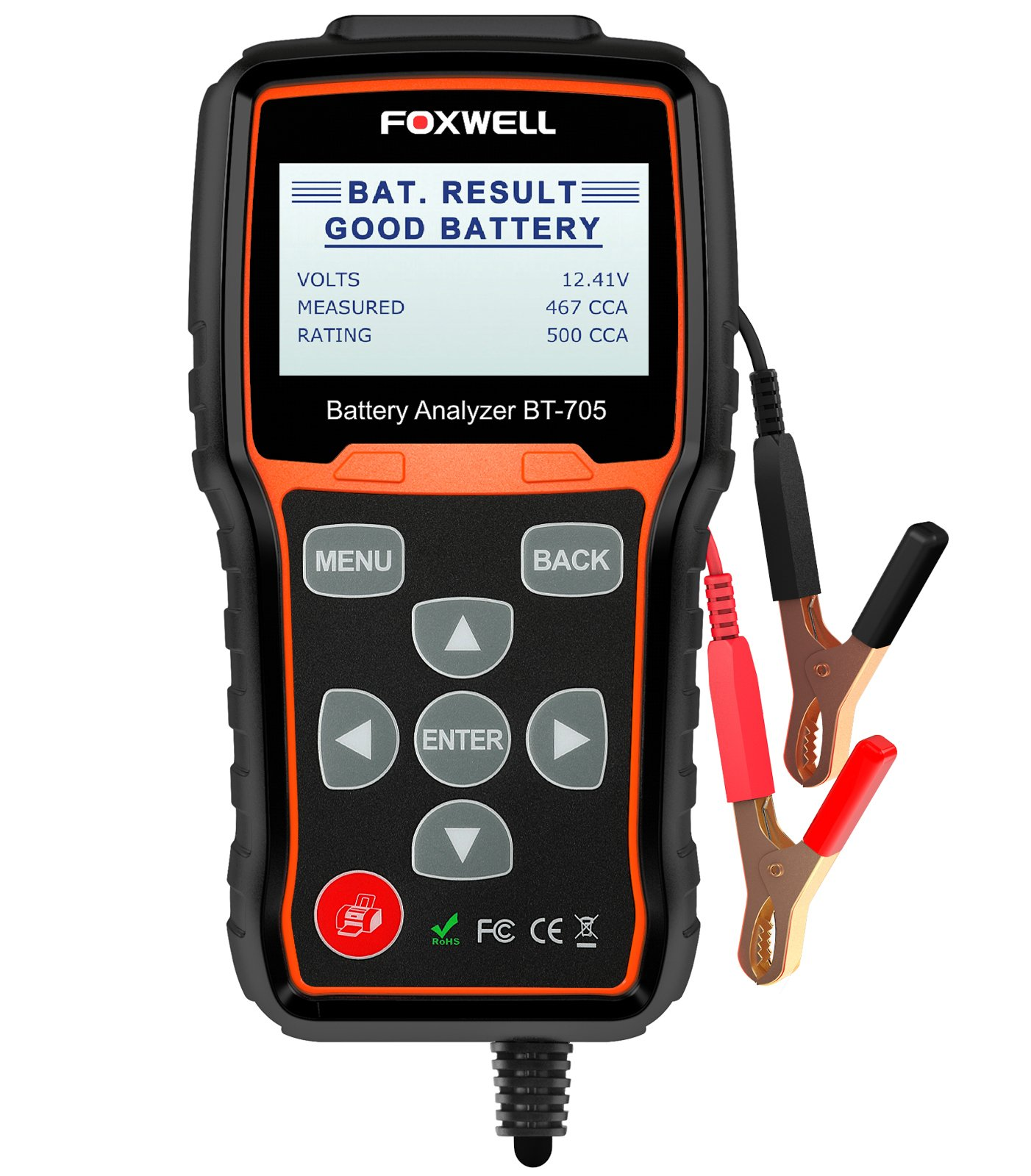 FOXWELL Battery Tester BT705 Automotive 100-2000 CCA Battery Load Tester 12V 24V Car Cranking and Charging System Test Tool Digital Battery Analyzer for Cars and Heavy Duty Trucks by FOXWELL (Image #2)