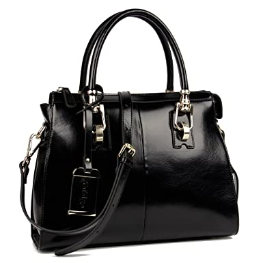 abddd1dc484d Yafeige Womens Lady s Handbag Vintage Luxury Wax Genuine Leather Tote  Shoulder Bag Satchel Purse(