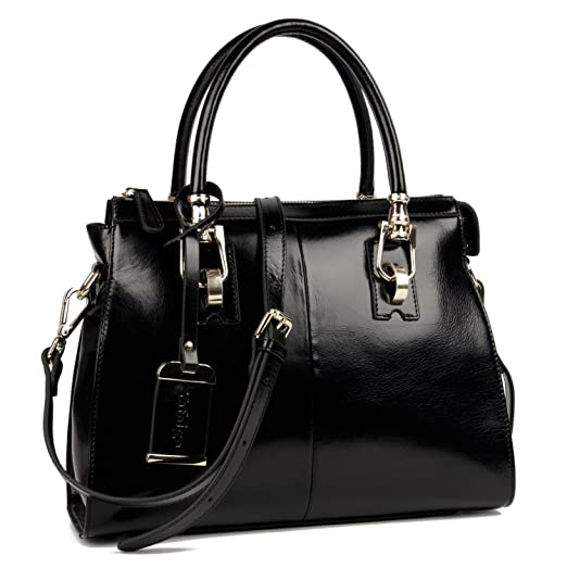 ebb017e5700 Yafeige Womens/Lady's Handbag Vintage Luxury Wax Genuine Leather Tote  Shoulder Bag Satchel Purse