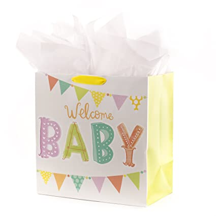 689e260c8 Amazon.com  Hallmark Oversized Baby Gift Bag with Tissue Paper ...